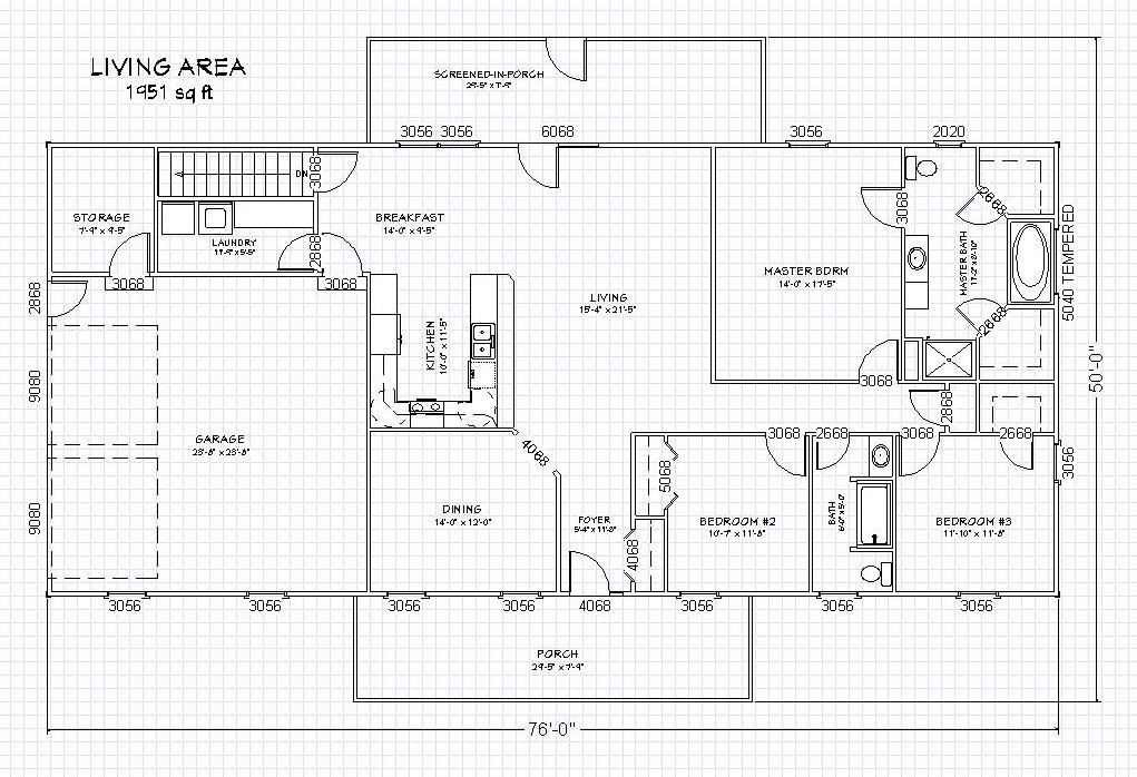 Ranch house plan with full basement the house plan site - Basement house plans ...