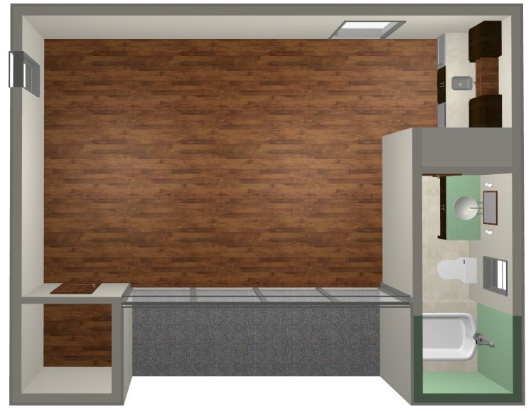 Studio plan modern casita house plan one bedroom studio for Studio guest house plans