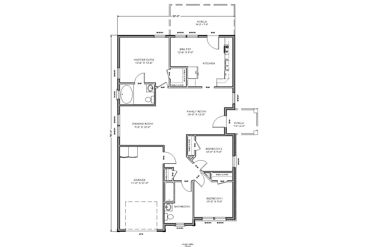 Traditional House Plan D62-1172, Standard Set, pdf Format