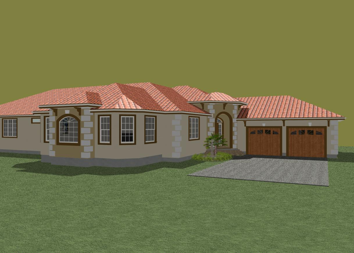 Single story mediterranean style house plan with great room and split ...