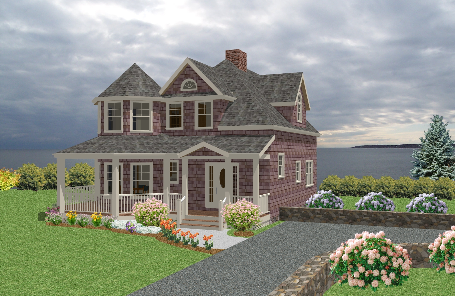 Seaside cottage traditional house plan new england for Cottage home plans