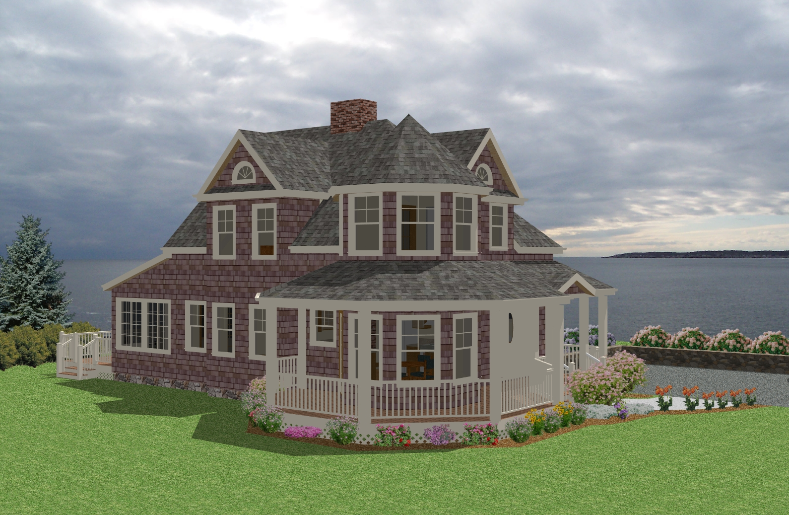 Seaside cottage traditional house plan new england for Seaside house plans designs