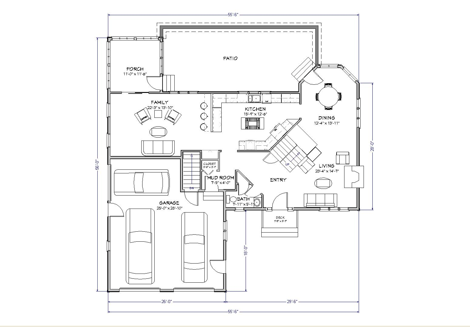 Country house plan two story traditional country house for One story cape cod house plans