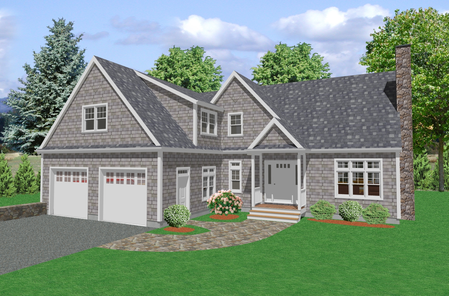 Country house plan two story traditional country house for Single story cape cod house plans