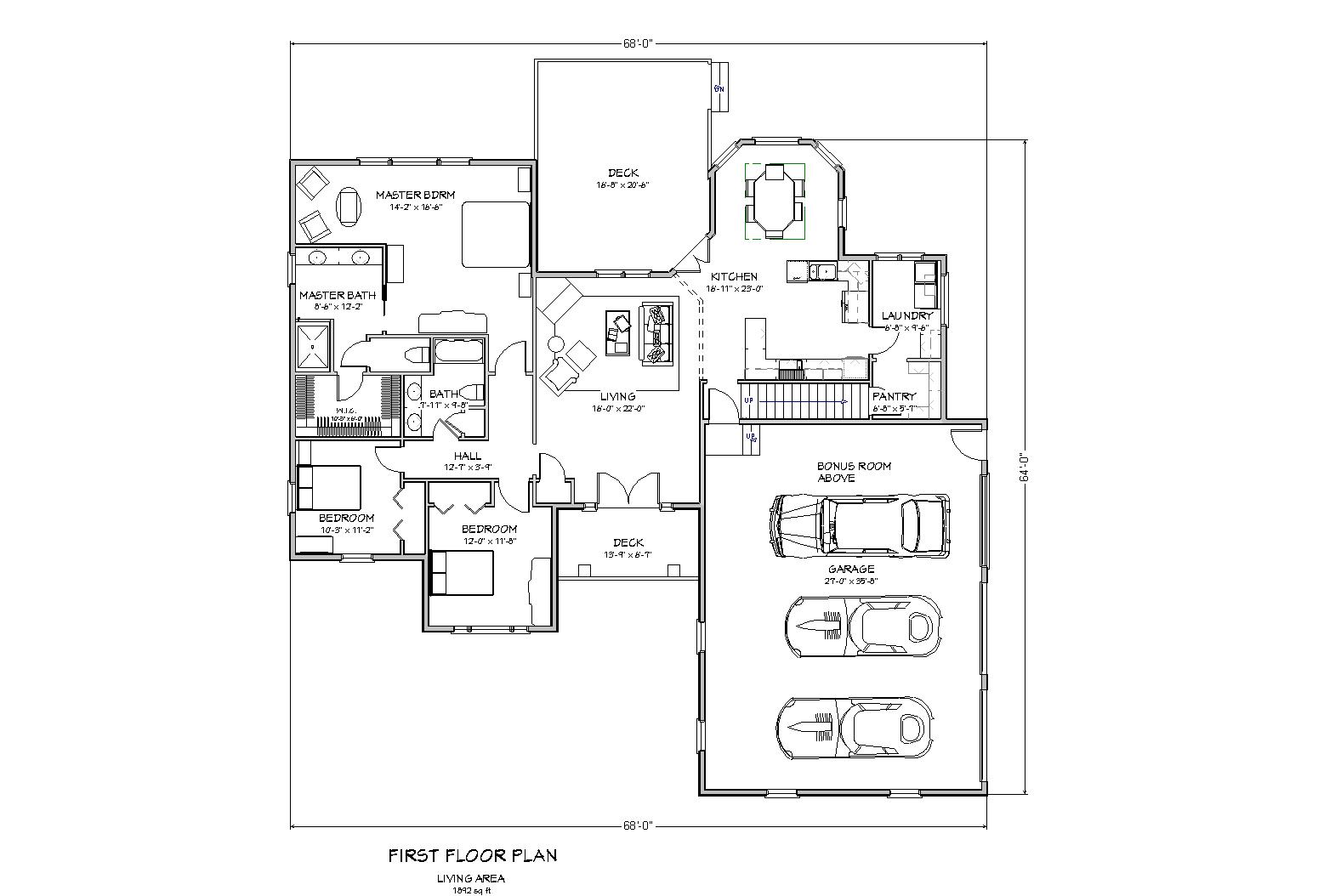 Ranch house plan house plan for sloped lot traditional for One level ranch home floor plans