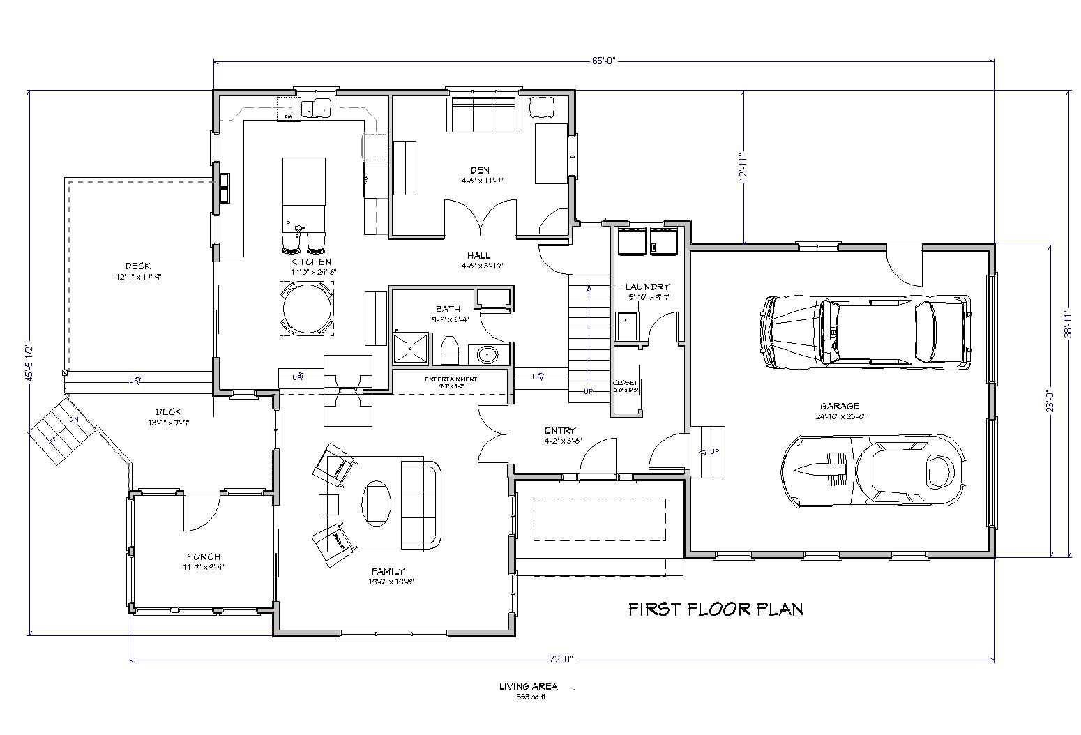 Cape lake house plan 3 bedroom traditional house plan for Lake home floor plans