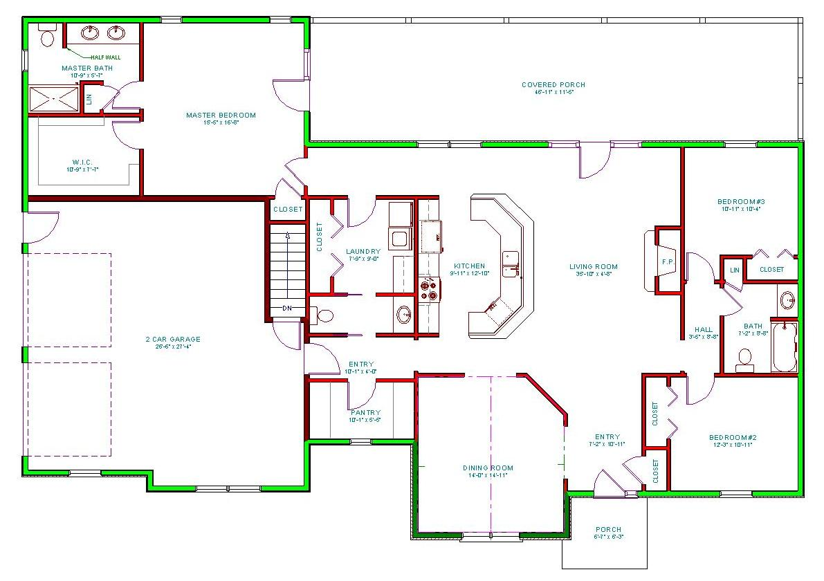 House Plan, Single Level Traditional Houseplan, Ranch Home Plan