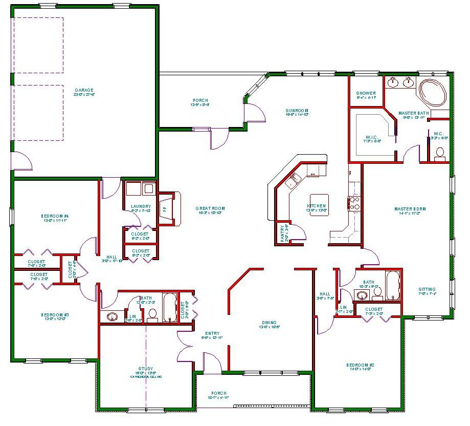Traditional ranch house plan single level one story ranch for Single level house designs