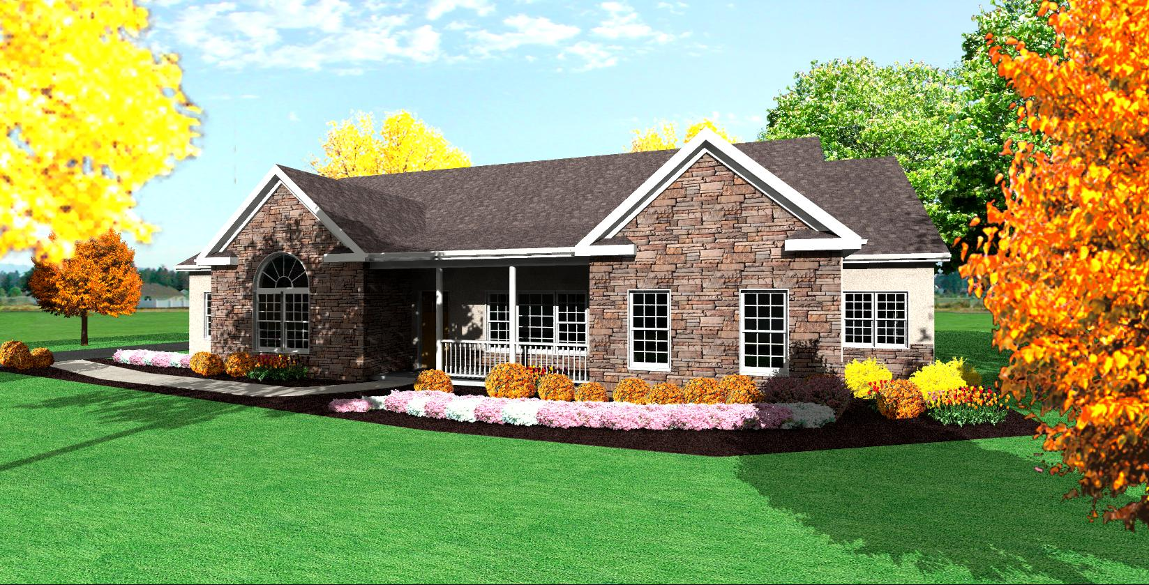 Traditional Ranch House Plan Single Level One Story Ranch: one story house designs