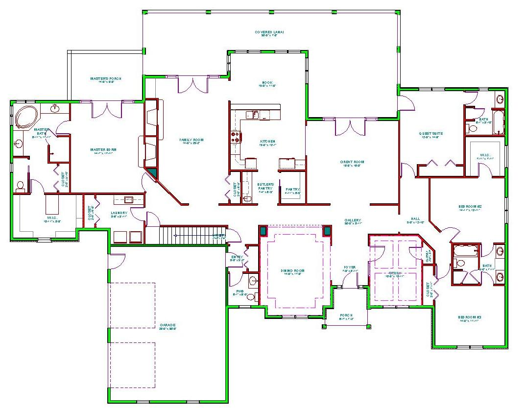 Mediterranean house plan single level mediterranean ranch for One level ranch home floor plans