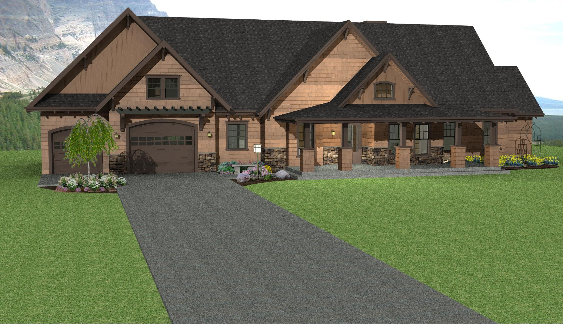 Mountain cabin plan ranch house plan mountain ranch for Ranch plans