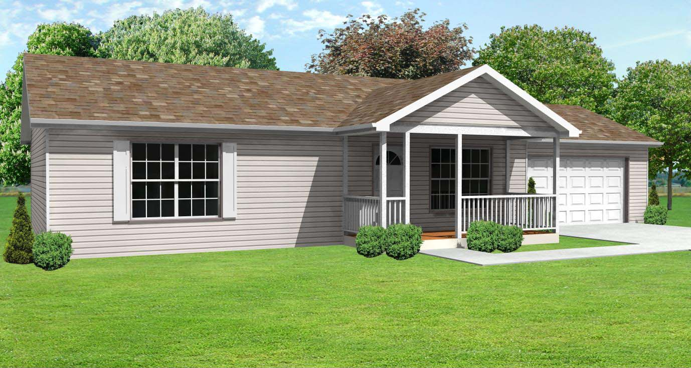 Small house plan with three bedrooms, one bathroom and a 2 car garage ...