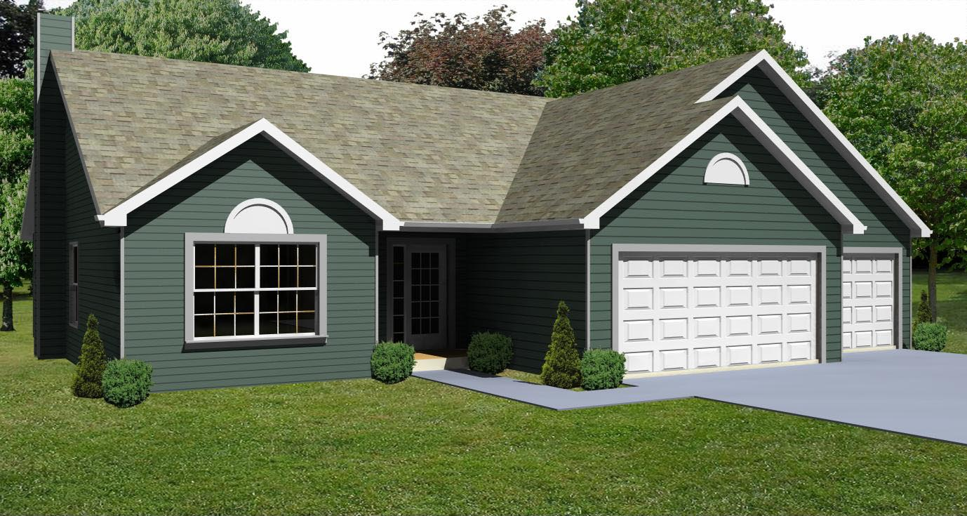 Small house plan small 3 bedroom ranch house plan the for Three car garage house plans