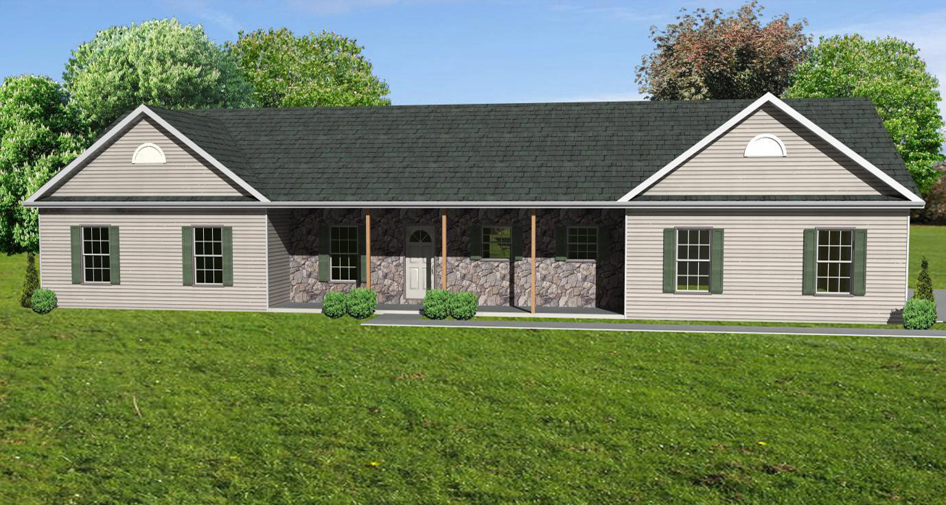 Great room ranch house plan ranch houseplan with for Ranch house with garage