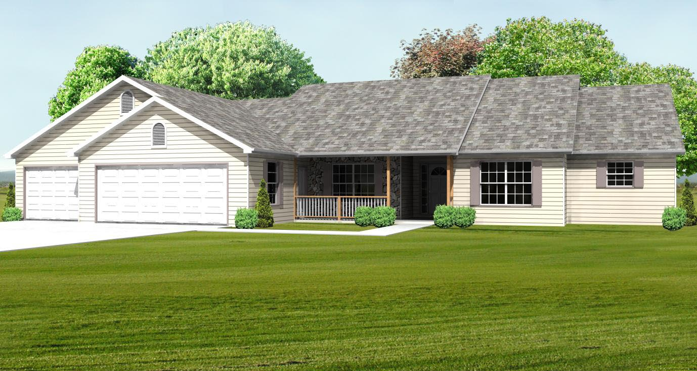 Ranch House Plan, Single Level Great Room Ranch Basement Plan ...