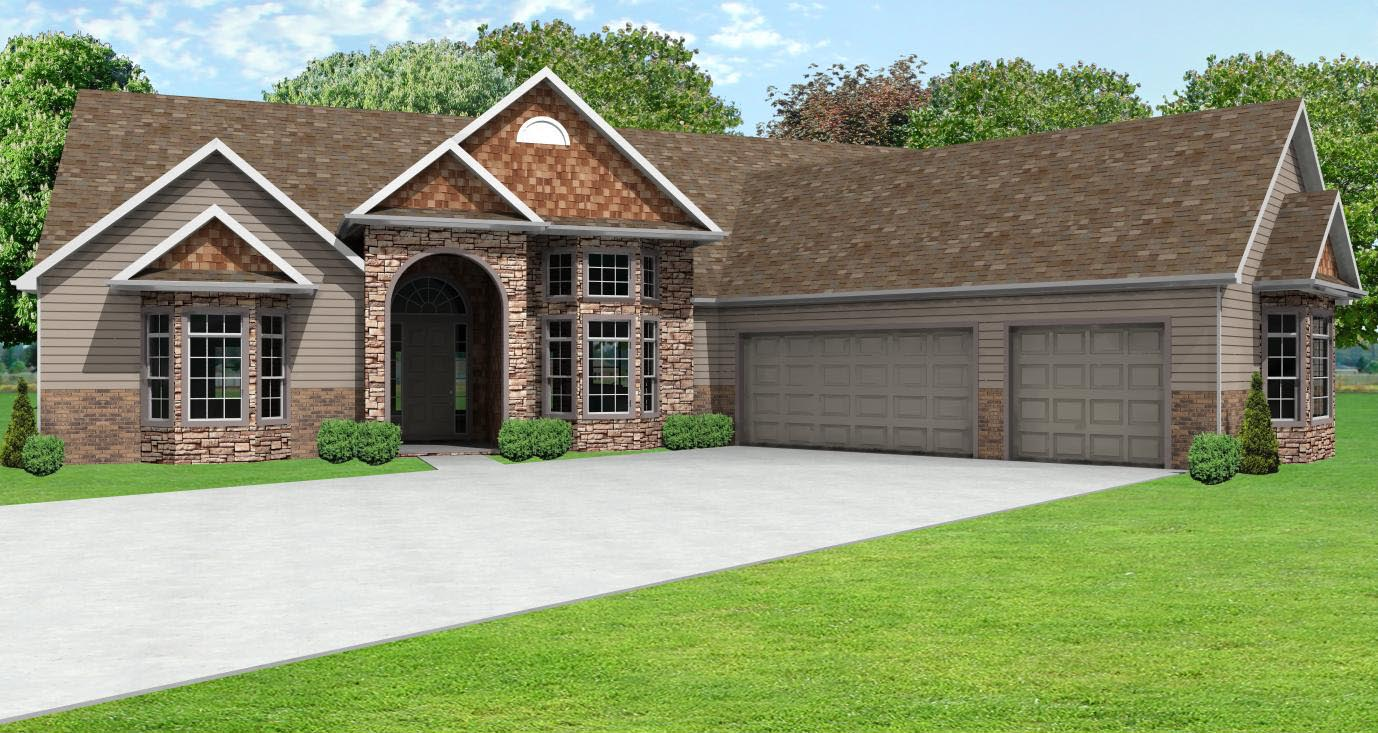 European ranch house plan greatroom ranch house plan with for Home designs 3 car garage