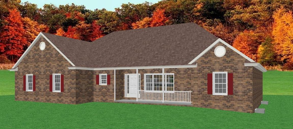 Traditional brick ranch home plan single level ranch home for Brick ranch house plans