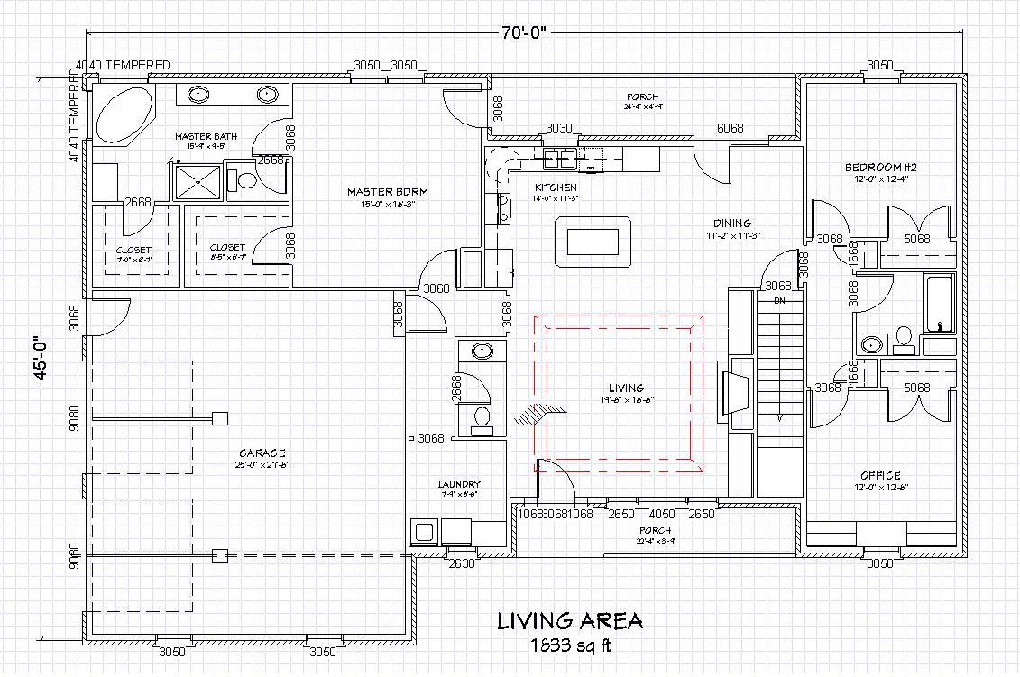 Traditional brick ranch home plan single level ranch home Ranch home plans with walkout basement