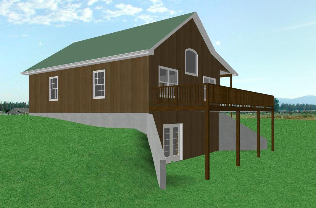 Small country cabin house plan cabin with walkout for Cabin floor plans with walkout basement